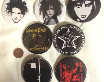 Large Goth buttons/pins: Robert Smith, The Cure, Siouxsie Sioux, Sioux and the banshees, Xmal deutschland, Sisters of Mercy, Bauhaus