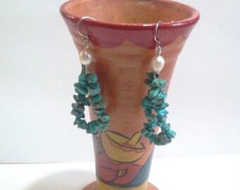 Natural Turquoise Earrings, Chip Bead Earrings, White Pearl Hoop Earrings, Blue Stone Bead Earrings, Southwestern Jewelry Design
