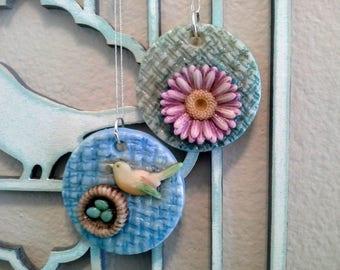 Bird Nest/Flower Ornaments Pair