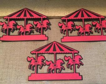 Carousel Die Cut Set of 3; Merry Go Round Die Cut, Carnival Party