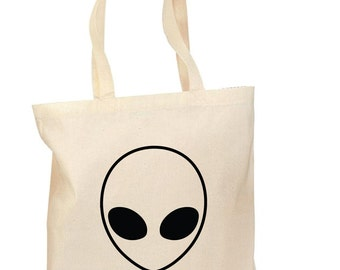 The Alien Tote, Hand printed, Grocery Bag, Reusable Bag, Screenprinted, Outer Space Lover, Cotton Tote, Canvas Tote, Shopping Bag, Gift