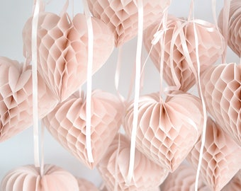 3  heart shaped paper honeycomb Decorations set - custom color / hanging party / decorations / birthday decorations / valentine's decor