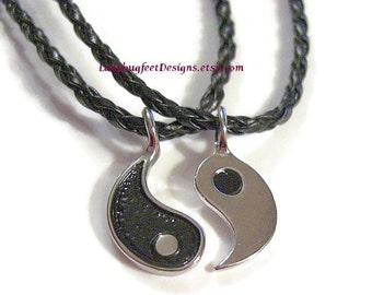 YIN and YANG Necklace Set, Braided Black Leather, Couples Necklace Set, Soul Mates Necklace Set, Friendship Necklaces, Valentine's Day Gift