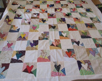 Scrappy Heart Quilt Top(applique)