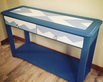 Blue and White Retro Sofa Table