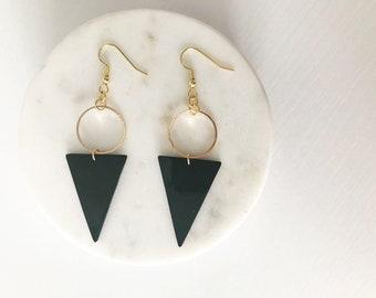 Geometric Earrings // Triangle Dangle Earrings // Black and Gold Earrings // Modern Earrings
