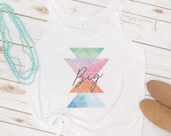 Big and Little Tank, Sorority, Reveal, Big Sis, Little Sis, GBig, GLittle, Retro Triangles, Vintage