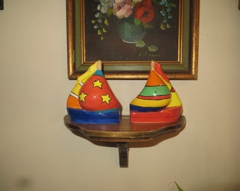 Sailboat Salt & Pepper Ceramic Shakers. Vintage Japan