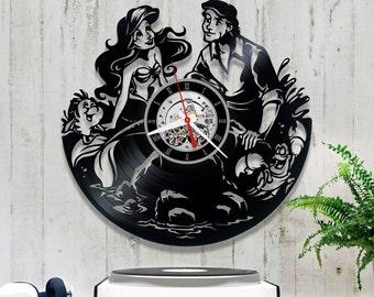 The Little Mermaid Vinyl Clock *V095 Wall Clock Disney/Horloge Disney/Clock for Kids/Wall Vinyl Clock/Princess Ariel Clock
