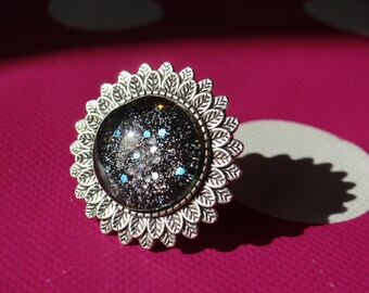 Black Galaxy Adjustable Ring
