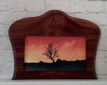 "Original Miniature Painting, ""Crimson Sky"", Acrylic on Canvas, Custom Exotic Hardwood Frame"