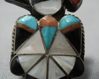 Amazing Vintage Native American Zuni Thunderbird Sterling Silver Turquoise Ring