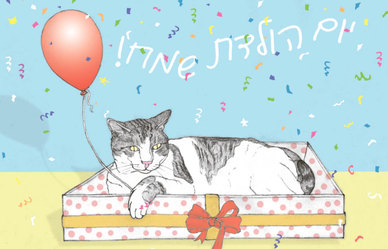 Cats happy birthday postcard in hebrew featuring spageti the zoom kristyandbryce Images