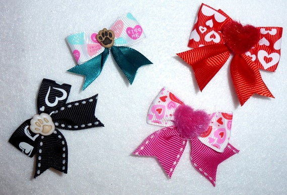 Puppy Bows ~Boys girls valentine's heart everyday bows latex bands red black pink teal   (fb84)
