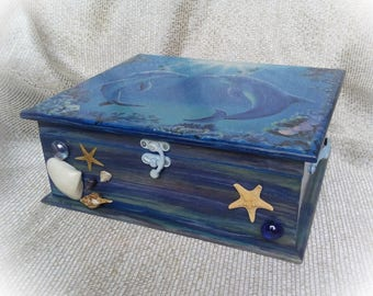 Tea box wooden tea box Tea Storage Tea Bag Box Tea bag storage Dolphins box Seaside themed box for kitchen dining room housewarming gift