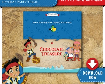 Jake and the Neverland Pirates Candy Bar Wrapper | Pirate Birthday Party | Printable | Invitation & Party Kit Available | Instant Download