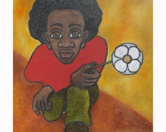 """Archival quality reproduction, entitled """"Man with Flower, Taking a Knee"""" hand signed and titled by the artist, Karen James"""