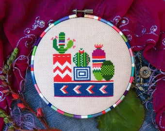No. 2 Cactus Cross Stitch Pattern PDF, Mexico Cross Stitch Cactus, Succulent Cross Stitch, Cacti Creations, Succulents And Cacti