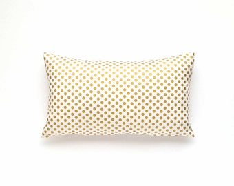 "Decorative Gold Polka Dot Lumbar Pillow Cover - 12"" x 20"" - Gold Pillow Cover, Polka Dot Pillow, Gold Throw Pillow, Metallic Pillow"