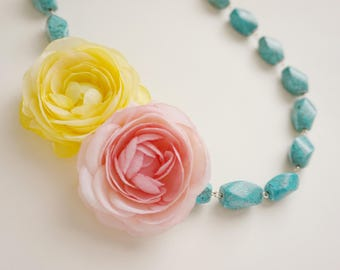 Statement Necklace Turquoise Necklace Yellow Necklace Pink Necklace Flower Necklace Bridesmaid Jewelry Bridesmaid Gift Wedding Necklace Gift