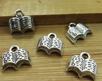 100pcs Antique Silver Book Charms , Book Pendant , Book Necklace, Bulk  Charms , Wholesale Charms