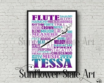 Personalized Flute Poster, Flute Typography, Flute Player Gift, Flute Art, Flute Gift, Custom Flute, Gift for Flute Player, School Band Gift