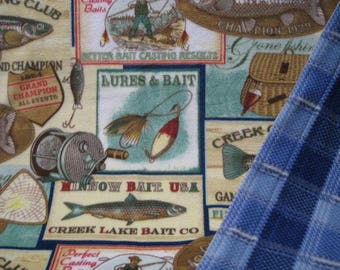 Fisherman Or Fisherwoman Trophy Fleece Print With Blue Plaid On Reverse Sewn Blanket Or Throw
