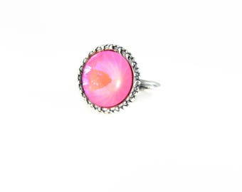Neon Pink Rivoli Swarovski Ring