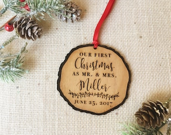Our First Christmas as Mr and Mrs Ornament - Personalized Christmas Ornament for Newlyweds - Married Couple Christmas Gift - Wedding Gift