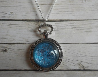 Blue Pocket Watch necklace