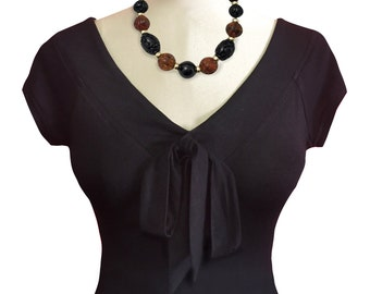 black Maggie Bow Top in Jersey knit