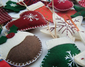 Felt Christmas Decorations, Choice of 3 Christmas Decorations, Felt Christmas Ornaments