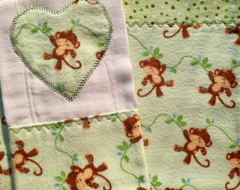 Monkey See, Monkey Do - Receiving Blanket with Matching Burp Pad