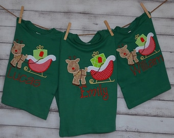 Reindeer Christmas Sleigh Applique Shirt or Bodysuit Boy or Girl Choose your color!