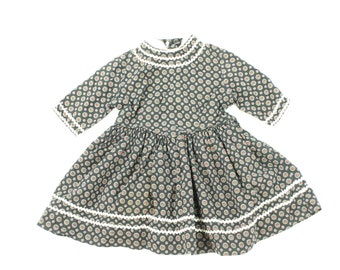 50s Youngland Girls Cotton Dress Fit and Flare Atomic Print Vintage 1950s 3T *check measurements