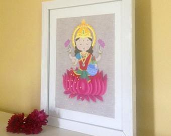 Printable Digital Download -Wall Art, Laxmi, Diwali, Goddess of Wealth, Lakshmi, Hindu goddess of Prosparity, Indian Art