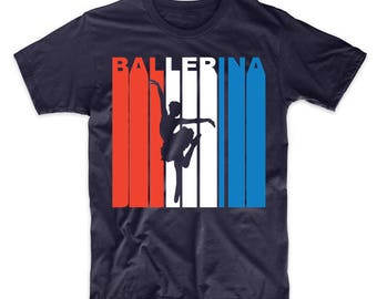 Retro Style Red White And Blue Ballerina Dancer T-Shirt