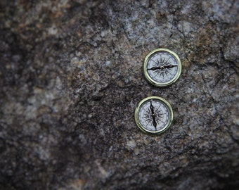 Thin Gold Metal Compass Stud Earrings!