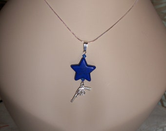 Stars & Guns Earrings, Blue Star with Pistol, Star and Gun Necklace, by Brendas Beading on Etsy