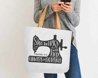 Hand Lettered, Sewing Machine, She Works with her hands in delight, Proverbs 31:13, Cricut, Silhouette, SVG, PNG, Digital Cut File, Craft