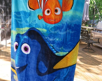 Childrens Beach Towel- Finding Dory- with Nemo- Personalized-Last one