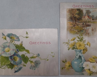 Antique Postcards, Floral Greetings, Set of 2, Metallic Silver, Old Blue Yellow Ephemera, Cards for Scrapbooking, Camden, WV 1900