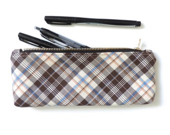Plaid Pencil Case Zipper Pencil Pouch