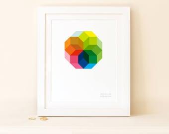 Octagon Repeat Colour Wheel Print