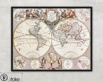 Antique World Map - World map poster - Wall world map - World map poster - World wall map - 021