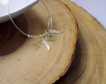 Sterling Silver Compass Angel Wing Charm Bracelet Bangle Travel Gift
