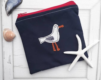 Coin purse, money purse, embroidered purse, seagull coin purse, fabric purse, zip pouch, purse,  handmade purse, makeup bag, for her