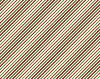 Pixie Noel Stripe Green by Riley Blake Designs - Red Christmas Holiday - Quilting Cotton Fabric - choose your cut