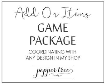 Coordinating Bridal Shower Game File Package to match any design in my shop - Printable