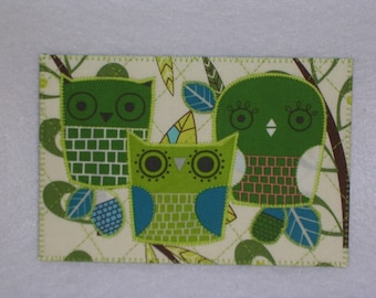 OWL Birthday Postcard MADE To ORDER Him Her Friend Mom Thank You Housewarming Frame Gift Hi Kitchen Bath Cabin Any Room 4x6 fabric quilted